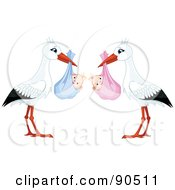 Royalty Free RF Clipart Illustration Of A Digital Collage Of White And Black Storks Carrying A Bundled Baby Girl And Boy