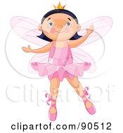 Cute Black Haired Ballerina Fairy Dancing