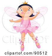 Royalty Free RF Clipart Illustration Of A Cute Black Haired Ballerina Fairy Dancing