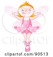 Royalty Free RF Clipart Illustration Of A Cute Red Haired Ballerina Fairy Dancing