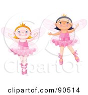Royalty Free RF Clipart Illustration Of A Digital Collage Of Cute Ballerina Fairies Dancing