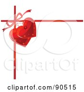 Royalty Free RF Clipart Illustration Of A Red Ribbon And Bow With Heart Tags On White by Pushkin