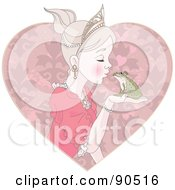 Beautiful Princess Kissing A Frog Prince Over A Pink Heart