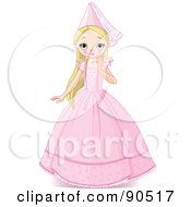 Royalty Free RF Clipart Illustration Of A Beautiful Blond Princess In A Pink Gown And Hat