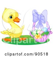 Royalty Free RF Clipart Illustration Of A Cute Yellow Duckling By A Basket Of Easter Eggs by Pushkin