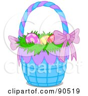 Royalty Free RF Clipart Illustration Of Easter Eggs On Grass In A Purple And Blue Basket