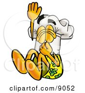 Clipart Picture Of A Chefs Hat Mascot Cartoon Character Plugging His Nose While Jumping Into Water