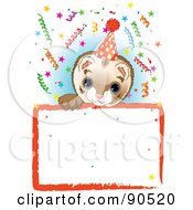 Royalty Free RF Clipart Illustration Of An Adorable Ferret Wearing A Party Hat Looking Over A Blank Starry Sign With Colorful Confetti by Pushkin