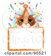 Royalty Free RF Clipart Illustration Of An Adorable Tiger Cub Wearing A Party Hat Looking Over A Blank Starry Sign With Colorful Confetti by Pushkin