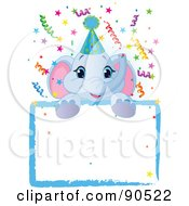 Royalty Free RF Clipart Illustration Of An Adorable Elephant Wearing A Party Hat Looking Over A Blank Starry Sign With Colorful Confetti by Pushkin