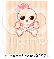 Royalty Free RF Clipart Illustration Of A Female Skull With A Pink Heart Over Stripes by Pushkin