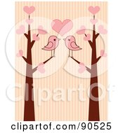 Royalty Free RF Clipart Illustration Of Two Pink Birds Under A Heart In Love Trees Over Stripes by Pushkin