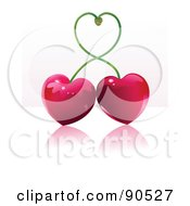 Shiny Heart Cherries With Their Stems Forming A Heart