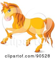 Royalty Free RF Clipart Illustration Of A Cute Orange Horse Running by Pushkin