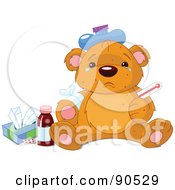 Sick Teddy Bear With Tears In His Eyes An Ice Pack On His Head And Tissue