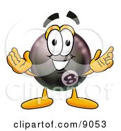 Eight Ball Mascot Cartoon Character With Welcoming Open Arms