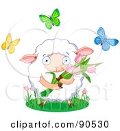 Royalty Free RF Clipart Illustration Of A Cute Sheep Holding Tulips And Surrounded By Butterflies by Pushkin