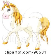 Cute Walking White Horse With Yellow Hair
