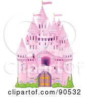 Royalty Free RF Clipart Illustration Of A Pink Fairy Tale Castle With Turrets And Shrubs