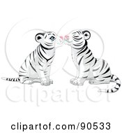 Royalty Free RF Clipart Illustration Of A Cute White Tiger Pair Smooching by Pushkin