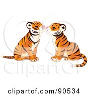 Royalty Free RF Clipart Illustration Of A Cute Tiger Pair Smooching by Pushkin