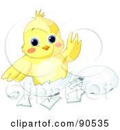Royalty Free RF Clipart Illustration Of A Cute Yellow Chick Waving And Sitting In An Egg Shell by Pushkin