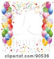 Royalty Free RF Clipart Illustration Of A Border Of Colorful Confetti And Party Balloons Around White Space