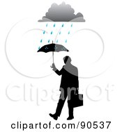 Royalty Free RF Clipart Illustration Of A Silhouetted Businessman Holding Up An Umbrella Under A Rain Cloud