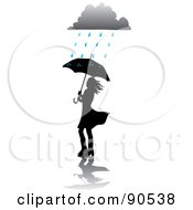 Royalty Free RF Clipart Illustration Of A Silhouetted Woman Walking With An Umbrella Under A Rain Cloud