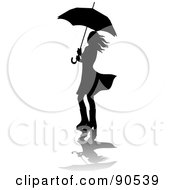 Royalty Free RF Clipart Illustration Of A Silhouetted Woman Walking In Rain Boots Under An Umbrella