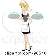 Pretty Caucasian Waitress Carrying Beverages On Trays