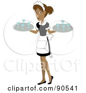 Pretty Hispanic Waitress Carrying Beverages On Trays