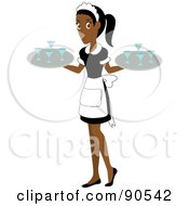 Royalty Free RF Clipart Illustration Of A Pretty Indian Or African Waitress Carrying Beverages On Trays by Rosie Piter