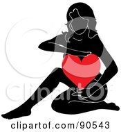 Royalty Free RF Clipart Illustration Of A Black Female Silhouette Holding A Red Heart