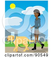 Royalty Free RF Clipart Illustration Of A Pretty Indian Woman Walking Through Her Neighborhood With Her Golden Retriever Dog by Rosie Piter