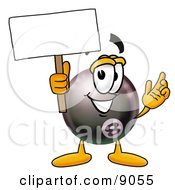 Clipart Picture Of An Eight Ball Mascot Cartoon Character Holding A Blank Sign by Toons4Biz
