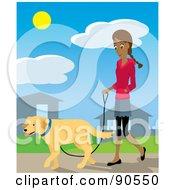 Pretty Hispanic Woman Walking Through Her Neighborhood With Her Golden Retriever Dog