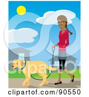 Pretty Hispanic Woman Walking Through Her Neighborhood With Her Golden Retriever Dog