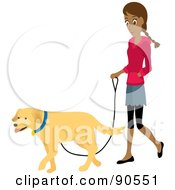 Pretty Hispanic Woman Walking Her Golden Retriever Dog On A Leash