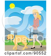 Pretty Caucasian Woman Walking Through Her Neighborhood With Her Golden Retriever Dog