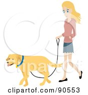 Pretty Caucasian Woman Walking Her Golden Retriever Dog On A Leash