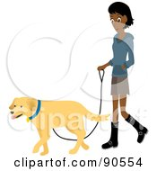 Pretty Indian Woman Walking Her Golden Retriever Dog On A Leash