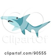 Royalty Free RF Clipart Illustration Of A Blue Hammerhead Shark by Rosie Piter