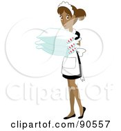 Royalty Free RF Clipart Illustration Of A Hispanic Maid Carrying Pillows by Rosie Piter