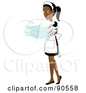 Royalty Free RF Clipart Illustration Of An Indian Or African Maid Carrying Pillows by Rosie Piter