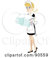 Royalty Free RF Clipart Illustration Of A Caucasian Maid Carrying Pillows by Rosie Piter