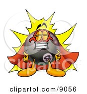 Clipart Picture Of An Eight Ball Mascot Cartoon Character Dressed As A Super Hero by Toons4Biz