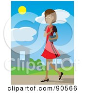 Royalty Free RF Clipart Illustration Of A Hispanic Woman With A Purse Walking Through A Neighborhood