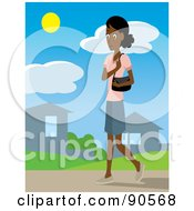 Royalty Free RF Clipart Illustration Of An Indian Or African Woman With A Purse Walking Through A Neighborhood by Rosie Piter
