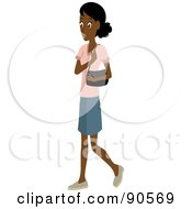 Royalty Free RF Clipart Illustration Of An African Or Indian Woman Walking With A Purse On Her Shoulder by Rosie Piter